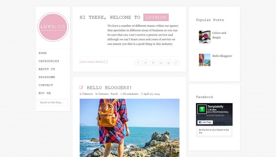 Luvblog - Responsive HTML5 Blogger Template