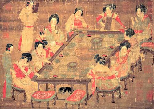 Pintura antiga representando concubinas da dinastia Tang tomando chá
