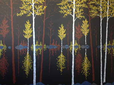 A work in progress by artist aaron kloss, pointillism, duluth mn painter, painting of birches in fall autumn, maples in autumn