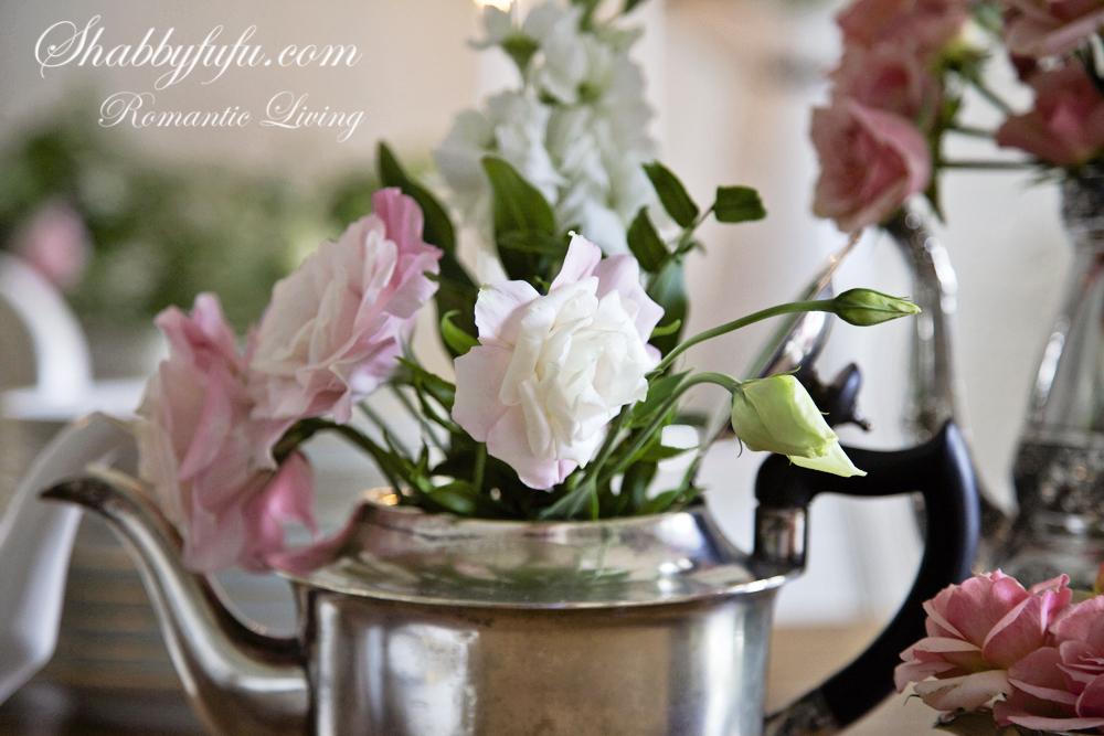 floral centerpiece silver  teapot