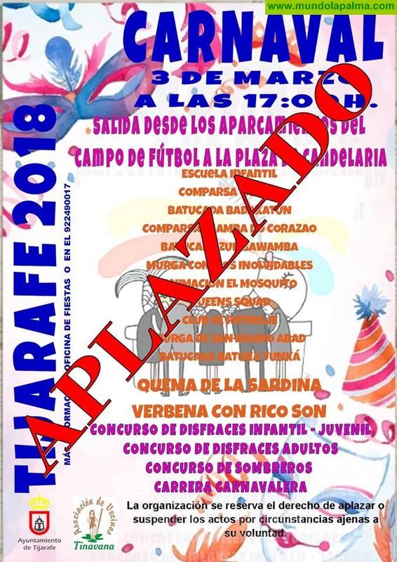 Tijarafe aplaza todos sus actos de Carnaval previstos para mañana sábado
