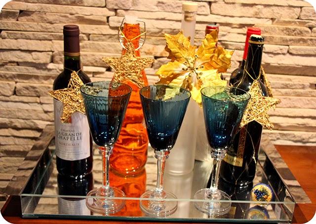 Vinhos - Decoração e Mesa de Natal em Azul