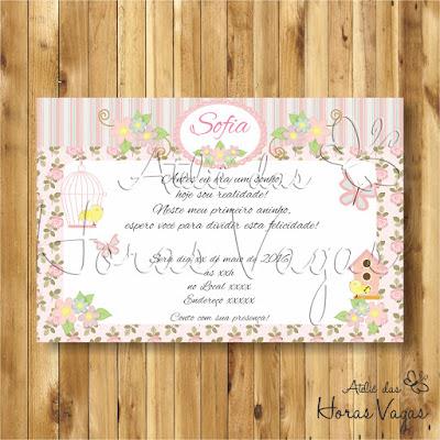 convite digital aniversário infantil personalizado jardim encantado floral delicado passarinho borboletas rosa provençal 1 aninho menina