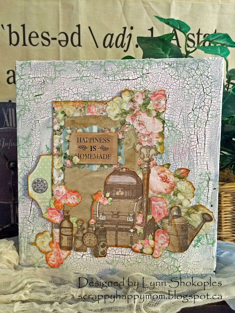 Soiree Mixed Media Album Cover by Lynn Shokoples for BoBunny featuring White Crackle Paste