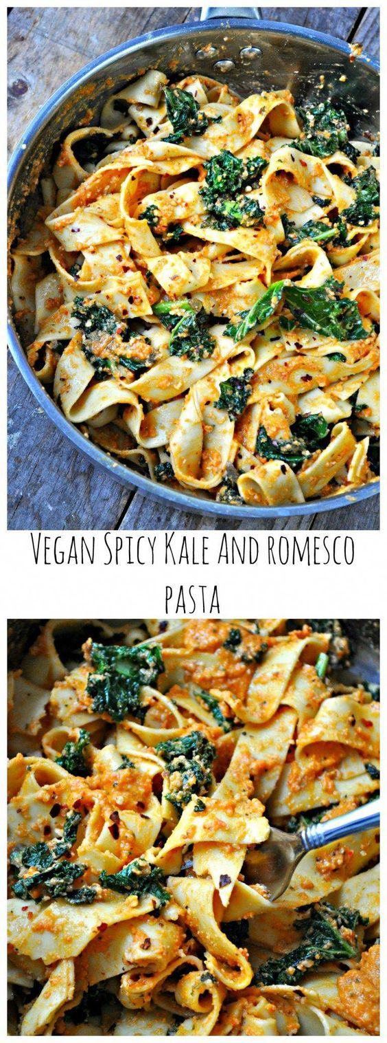 Vegan Spicy Kale And Romesco Pasta #vegan #spicy #kale #romesco #pasta #pastarecipes #easypastarecipes