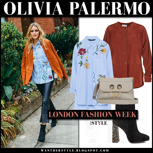 Olivia Palermo in brown suede tibi shirt jacket, blue embroidered zara shirt and black leather pants chelsea28 front row london fashion week what she wore