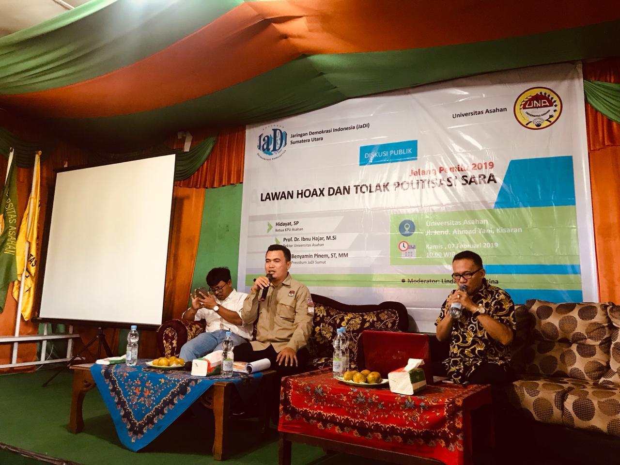 """KPU Asahan Gelar Diskusi Publik """"Lawan Hoax dan Tolak Politisasi SARA"""""""