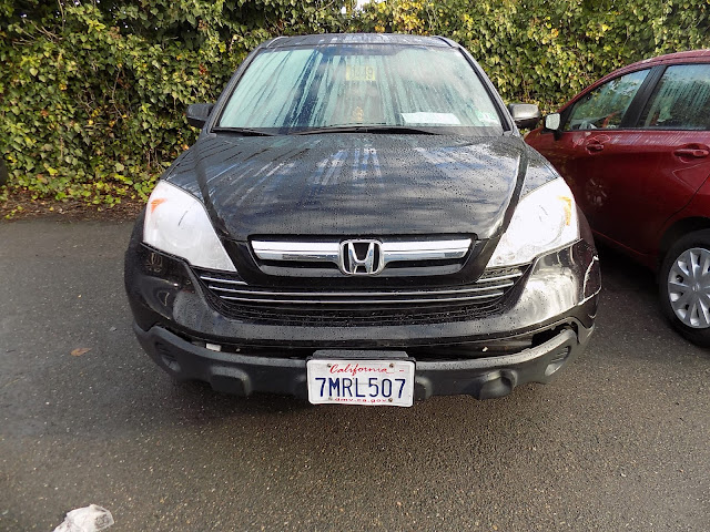 Damaged bumper on Honda CR-V before repairs at Almost Everything Auto Body