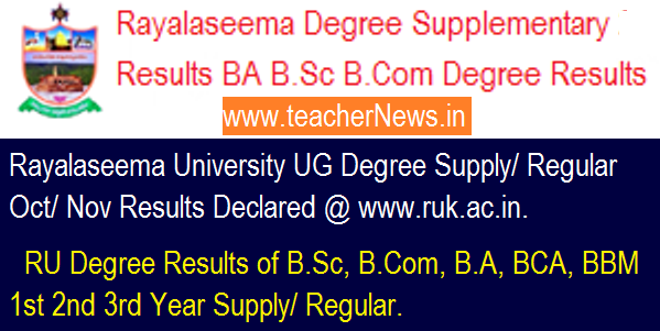 Rayalaseema University Degree Supplementary Regular Results 2018 - RU BA B.Sc B.Com Degree Results