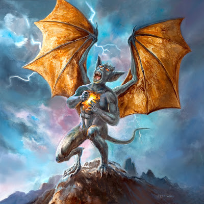 Gargoyle oil painting by Jeff Ward