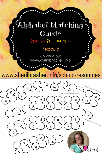 Today is Friday and you know what that means? It's Freebie Friday! Up for today we have some really cool butterfly alphabet matching cards. One of the early stages of learning to read is letter recognition. Grab this FREEBIE over at sherilbrasher.info/school-resoureces.