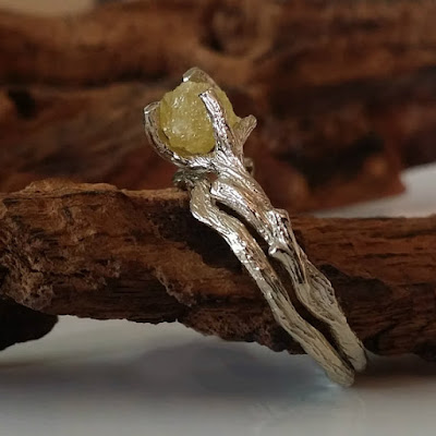 , Raw Uncut Yellow Diamond Branch Bridal Set, Available Now, Gold, Twig Wedding Set Hand Sculpted by Dawn Vertrees