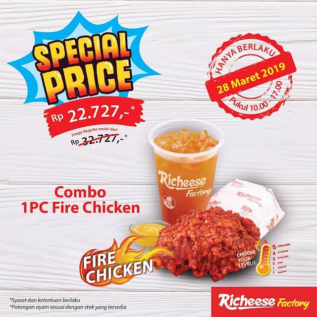 #RicheeseFactory - #Promo Hanya 27 Ribuan Special Price Combo 1pc Fire Chicken (28 Maret 2019)