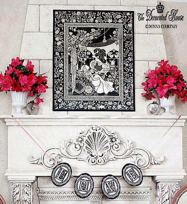 The Decorated House Black & White with Pink Valentine's Mantel 2014, Black & White Art of Beauty and the Beast, Mercury Glass Hearts, Milk Glass & Pink Flowers