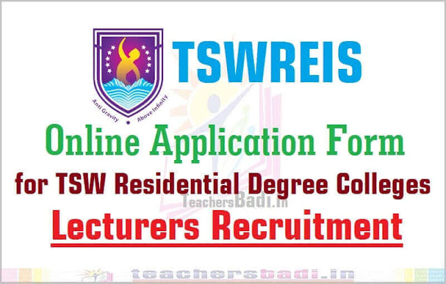 Tswreis,Online application form,Degree Colleges Lecturers recruitment 2016