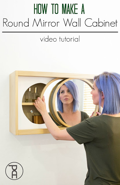 How to make a bathroom storage cabinet with rolling round mirror doors Free building plans woodworking DIY