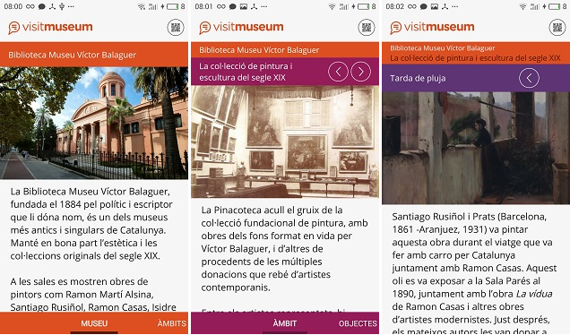 Exemple de visita al Museu Víctor Balaguer, via aplicació