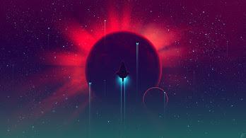 Spaceship, Minimalist, Sci-Fi, Digital Art, 4K, #138