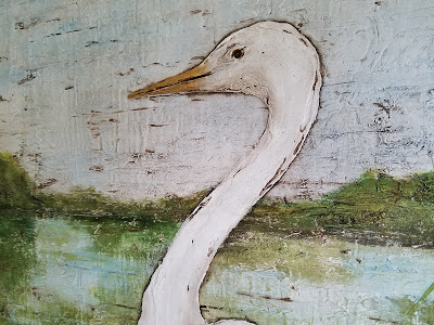 Florida egret coastal painting