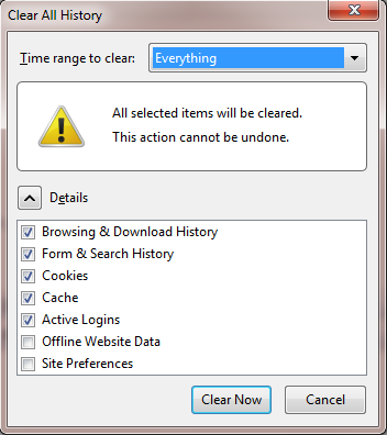 Deleting Browsing History From Mozilla Firefox