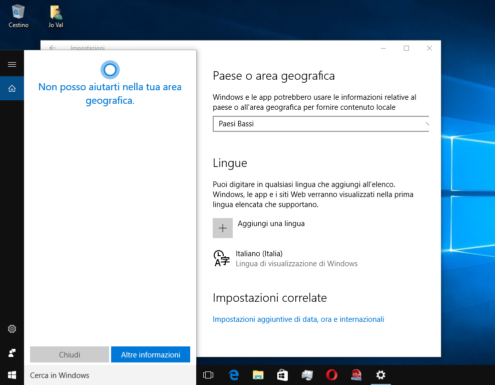 Casella di Ricerca Cortana bianca in Windows 10