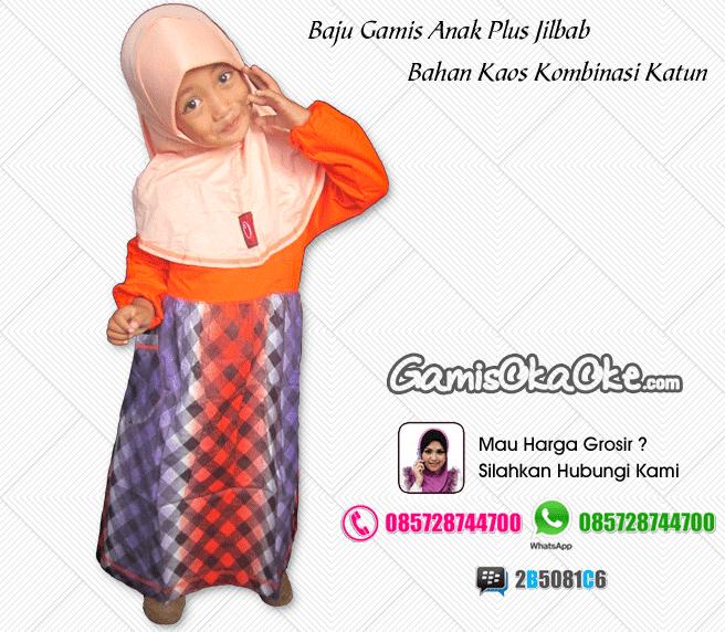 Gamis anak oka oke solo bahan kaos kombi katun dan dilenkapi dengan hijab model terbaru