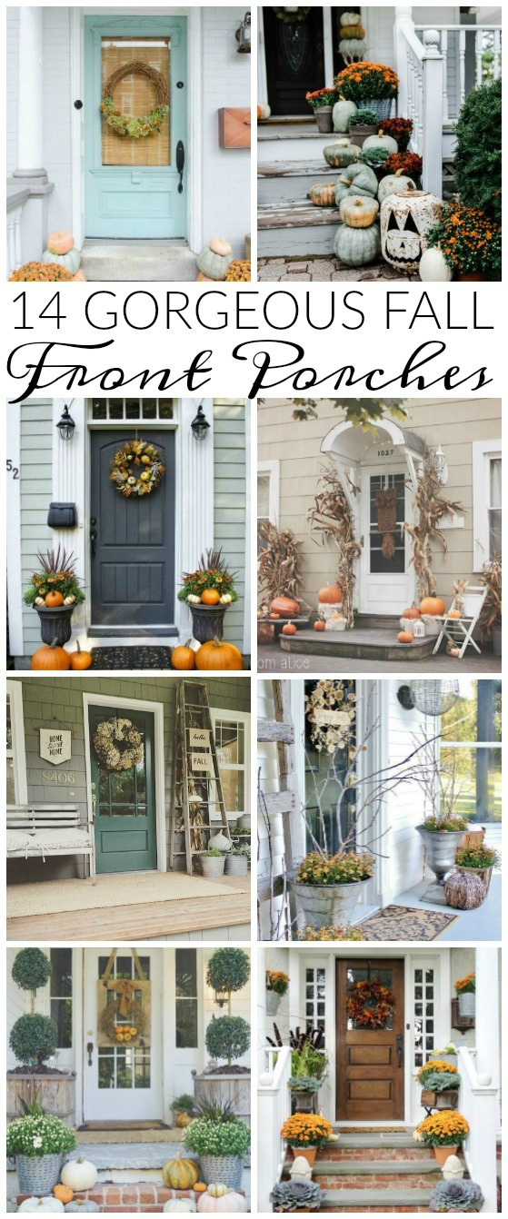 14 can't miss GORGEOUS fall front porches!  www.littlehouseoffour.com