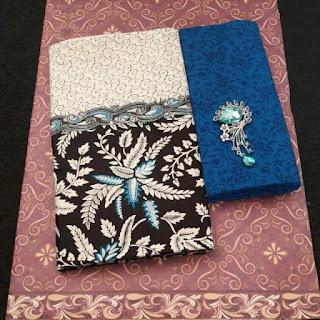 Kain Batik dan Embos 470 Pekalongan motif Daun Biru