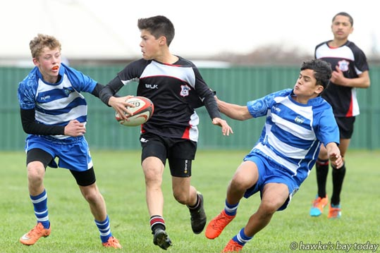 With ball: Jovian Cleal, Napier - Napier beat Hastings West 21-5, Ross Shield, Rugby Park, Dannevirke. photograph