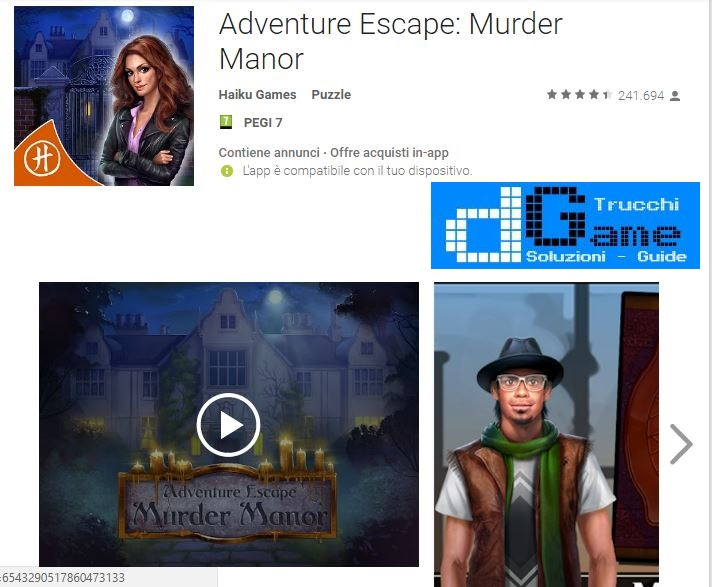 Soluzioni Adventure Escape: Murder Manor livello 1 2 3 4 5 6 7 8 9 10 | Trucchi e Walkthrough level