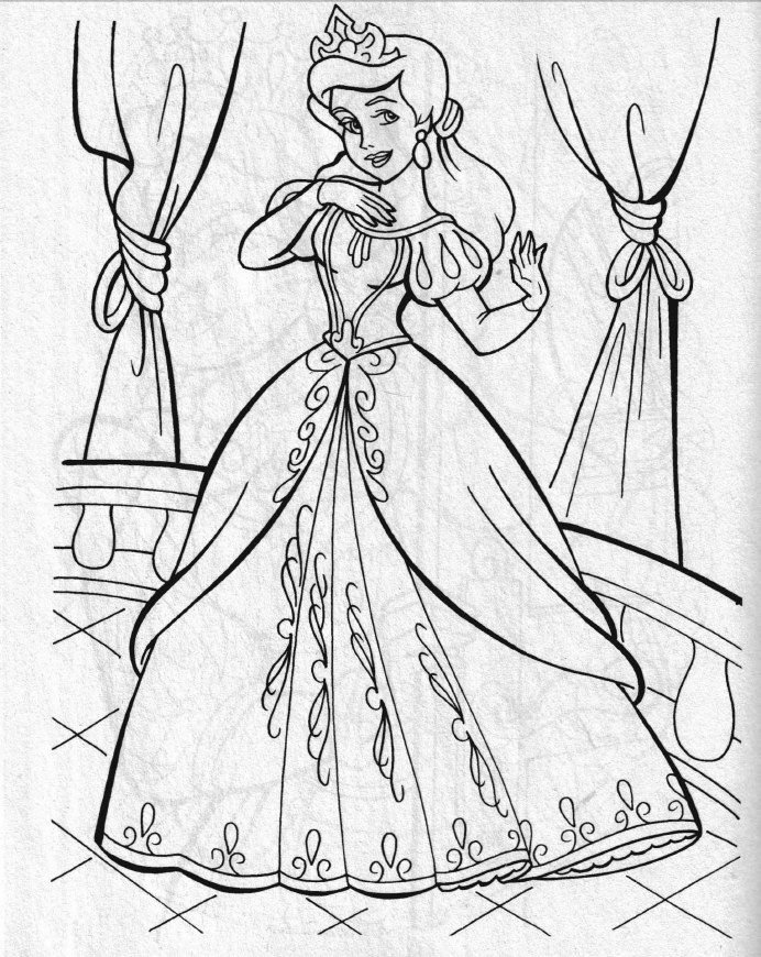Princess Drawing With Colour - Coloringnori - Coloring Pages For Kids