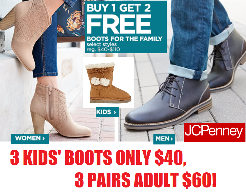 e3c761284d7 JCPenney Boots Sale! 3 Pairs of Girls' or Boys' Boots $40, 3 Pairs ...