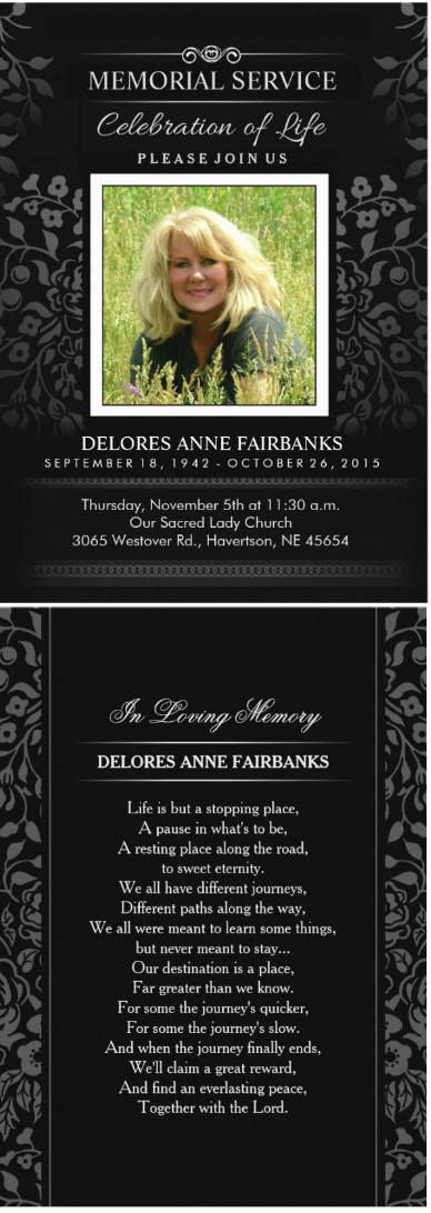 black & white floral memorial invitation card front and back