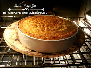 Corn Bread in a pan in the oven.  Corn Bread | rosevinecottagegirls.com