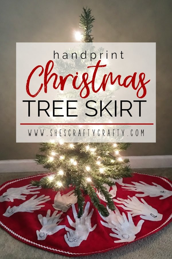 child's handprint Christmas tree skirt