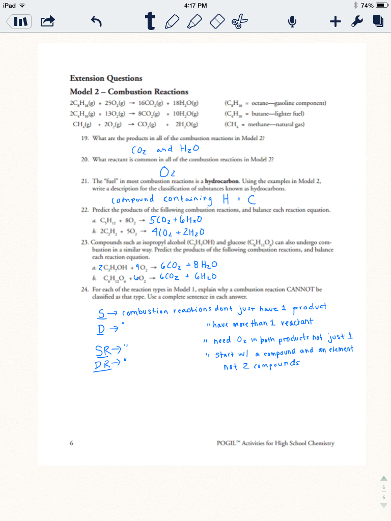 Types of chemical reactions worksheet middle school