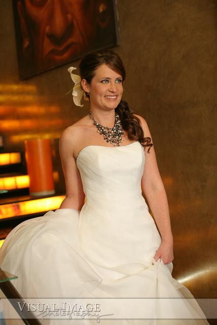 Bride walking down stairs at Vida Salon and Day Lounge