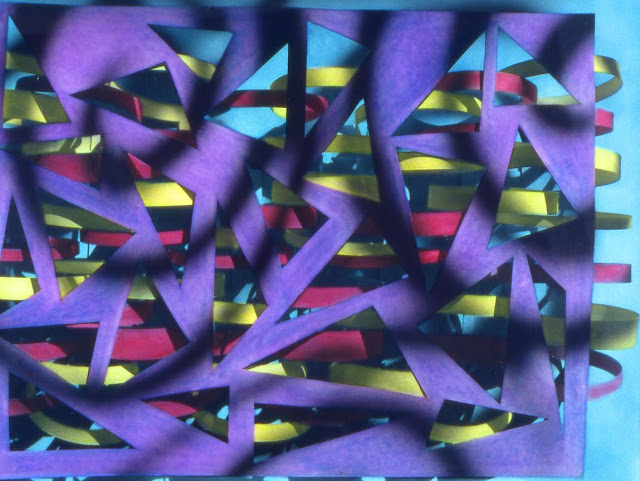 Geometric abstraction, paper sculpture, painted photograph