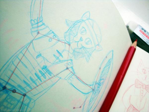 Boceto ilustración de la constelación Orión-gato.