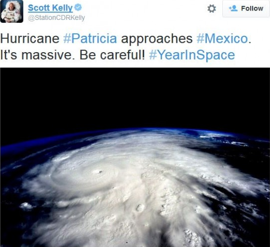 Εικόνες και Video του Τυφώνα Patricia από το Διάστημα, Mexico, NASA, Scott Kelly