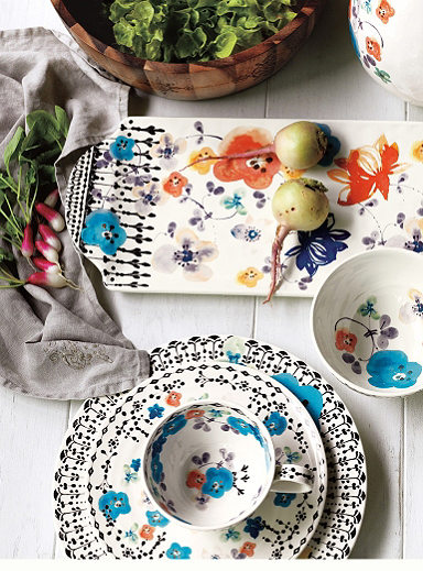 colorful bohemian kitchen furniture and decor including dinner ware and glasses from Anthropologie
