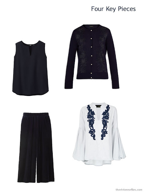 Four Key Wardrobe pieces in navy for the winter holidays