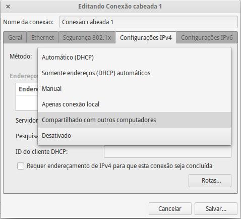 Editando a conexão cabeada (aba de Configurações IPv4 foi selecionada).