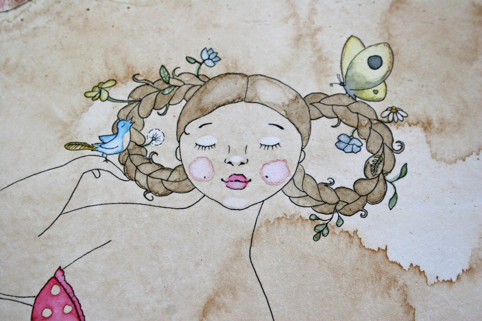 woman watercolor and ink