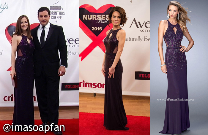 Hayden Barnes, Rebecca Budig, Elizabeth Webber, Rebecca Herbst, Embellished Purple Cutout Gowns, Nurses Ball, GH, General Hospital