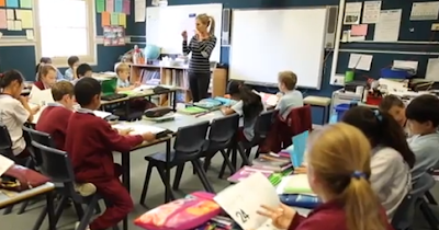 Australian school students in class classroom with teacher