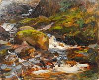 Waterfall Landscape Scene, France, Nikolai Becker