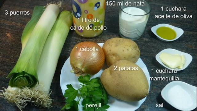 Vichyssoise. Ingredientes