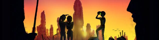 Un grupo de personas contempla una puesta de sol.