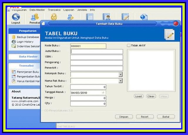 Download Aplikasi Administrasi Perpustakaan SD,SMP,SMA Versi 201